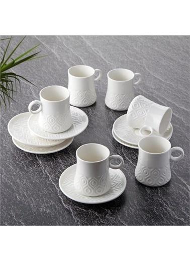 Tohana Tohana 6'lı Dörtgen Şekil Dokulu Modern Porselen Kahve Fincanı Takımı Renkli
